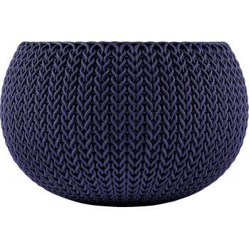 Designový plastový květináč, vzor pletení, kulatý- průměr 28 cm, fialový