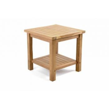 Menší masivní dřevěný odkládací stolek na terasu / balkon, 50x50 cm
