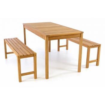 Zahradní sestava stolu a lavic z masivního teakového dřeva, 135 cm