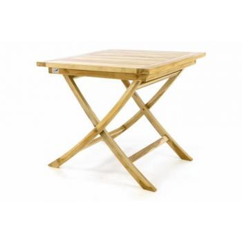 Skládací stolek z teakového dřeva, na terasu / balkon, 80x80 cm