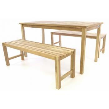 Zahradní nábytek- stůl s lavicemi, teakové dřevo, 150 cm
