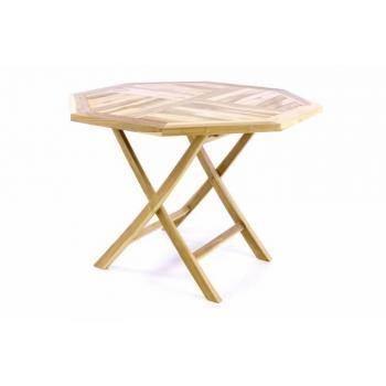 Skládací osmiúhelníkový stůl z masivního dřeva- teak, průměr 100 cm