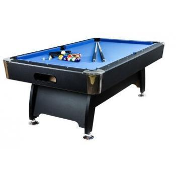 Větší kulečníkový stůl 7FT vč. příslušenství, kovové rohy, černá / modrá