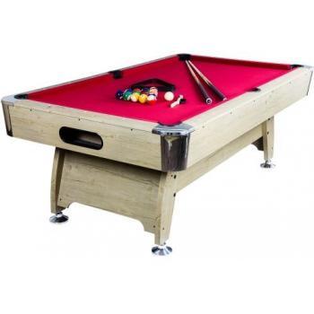 Velký PROFI kulečníkový stůl 8FT vč. příslušenství, kovové rohy, dřevodekor / červená
