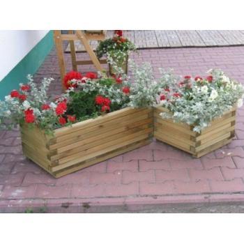 Dřevěný obdélníkový květináč venkovní 80x40x30 cm, masivní dřevo