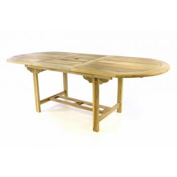 Zahradní stůl z masivu- teakové dřevo, oválný, rozkládací, 170-230 cm