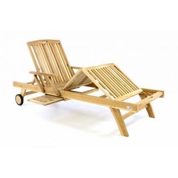 Luxusní relaxační lehátko z tvrdého teakového dřeva, nastavitelné