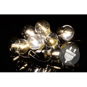 Světelný řetěz do zásuvky venkovní / vntiřní, skleněné žárovky, 5 m