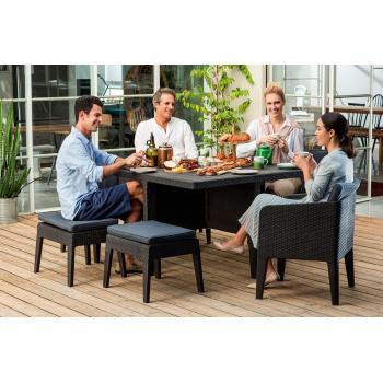 Rodinný set plastového zahradního nábytku, imitace ratanu, hnědá / béžová