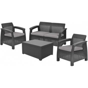 Zahradní ratanový nábytek 2 křesla, pohovka, stolek, antracit