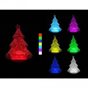 Vánoční svítící LED lampa- stromeček, 3D, různé barvy