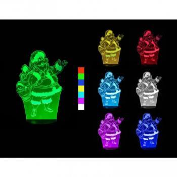 Vánoční svítící LED lampa s 3D efektem, Santa Claus, různé barvy