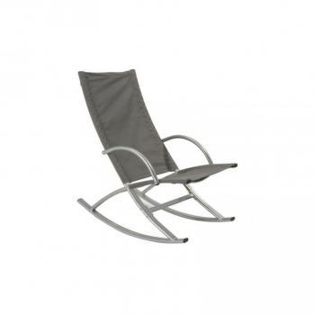 Kovové houpací křeslo s textilní výplní, šedé, nosnost 100 kg
