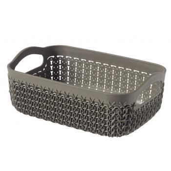 Plastový košík do domácnosti, ozdobný pletený vzor, hnědý A6