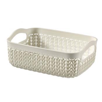 Plastový košík do domácnosti, ozdobný pletený vzor, krémový A5