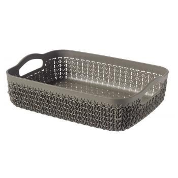 Plastový košík do domácnosti, ozdobný pletený vzor, hnědý A4