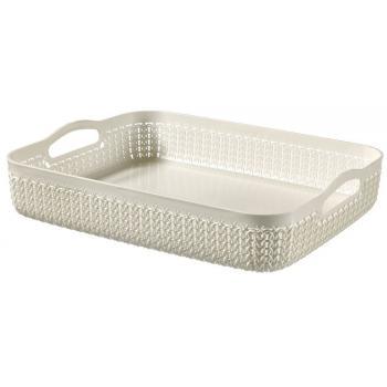 Plastový košík do domácnosti, ozdobný pletený vzor, krémový A4