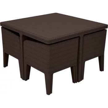Plastový set nábytku, imitace ratanu, židle možno zasunout pod stůl, hnědý
