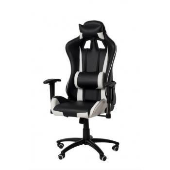 Luxusní kancelářská židle se 2 polštářky- bederním, pod hlavu, černá / bílá