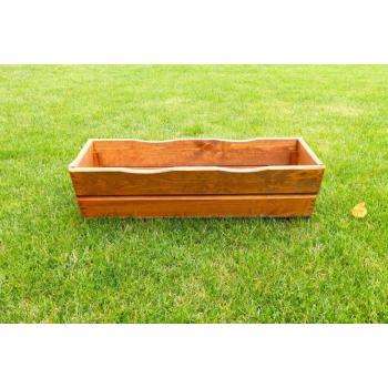 Dřevěný venkovní truhlík obdélníkový, masiv, délka 64 cm