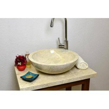Mramorové umyvadlo ve tvaru misky, provedení na desku, leštěné