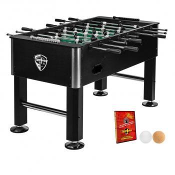 Odolný stolní fotbálek, vyztužené nohy a hrací pole, černý, 137x120 cm