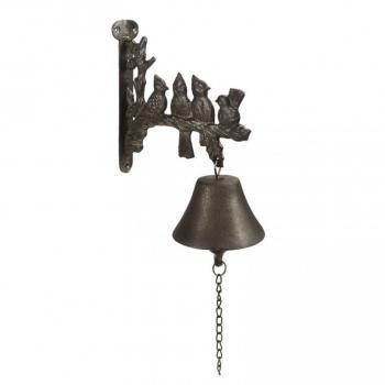 Kovový okrasný zvonek ke dveřím, litina, sedící ptáci, 26 cm