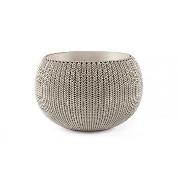 Designový moderní květináč ve tvaru koule, pletený vzor, pískový, průměr 36 cm
