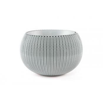 Designový moderní květináč ve tvaru koule, pletený vzor, šedý, průměr 36 cm