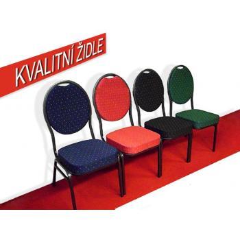 Interiérová kovová židle s textilním sedákem a opěradlem, stohovatelná, různé barvy