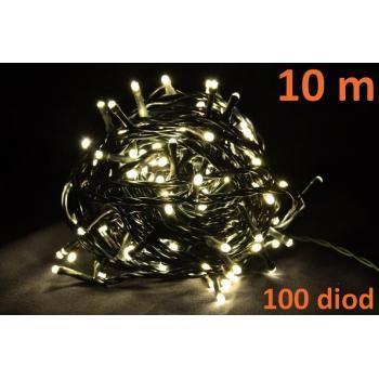 LED řetěz teple bílý, vnitřní, do zásuvky, 100 LED diod, 10 m