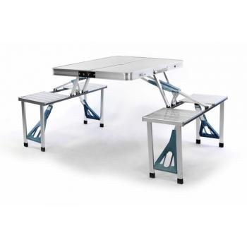 Kempovací sada nábytku- stůl s lavicemi, skládací, hliník, 136 cm