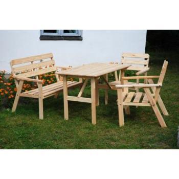 Rodinný dřevěný zahradní set nábytku, stůl, lavice, 2x židle, masiv bez lakování