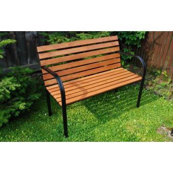 Venkovní lavička do parků a zahrad, železná kostra + masivní dřevo, 122 cm
