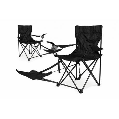 2x skládací kempingová židle s podložkou pod nohy, černá