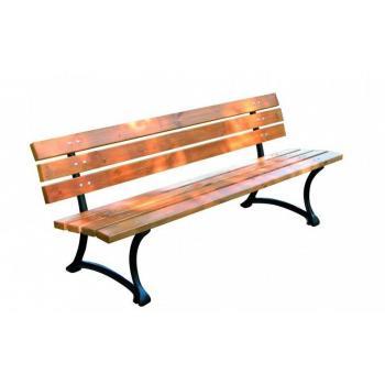 Dřevěná parková lavice- litinový rám + dřevěný sedák a opěrka, 180 cm