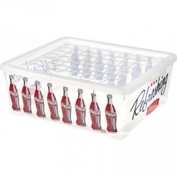 Větší plastový úložný box do domácnosti, průhledný, Coca Cola, 10 L