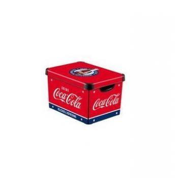 Úložná plastová krabice na drobnosti, s víkem, červená + potisk Coca Cola, vel. S