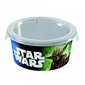 Plastová dóza na svačinu, kulatá s víkem, potisk Star Wars, 0,5 L