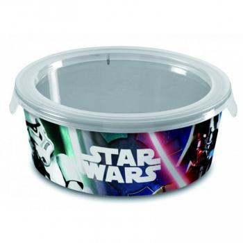 Plastová dóza na svačinu, kulatá s víkem, potisk Star Wars, 1,2 L