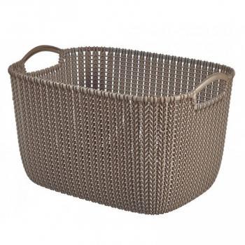 Větší obdélníkový košík do domácnosti, s uchy, hnědý, 19 L