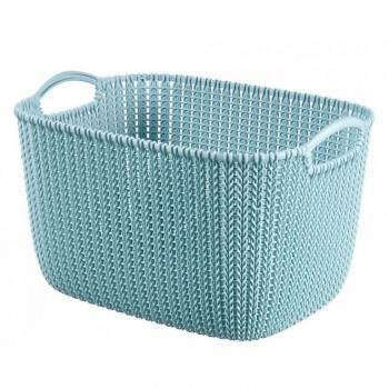 Větší obdélníkový košík do domácnosti, s uchy, světle modrý, 19 L