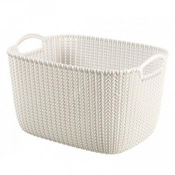 Větší obdélníkový košík do domácnosti, s uchy, krémový, 19 L