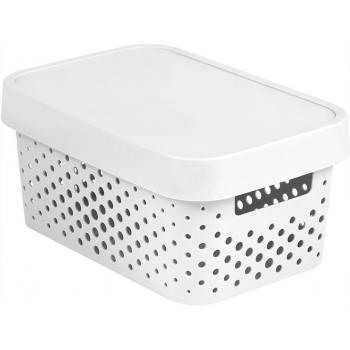 Dekorativní plastová krabice do domácnosti, s víkem, otvory, bílá, 4,5 L