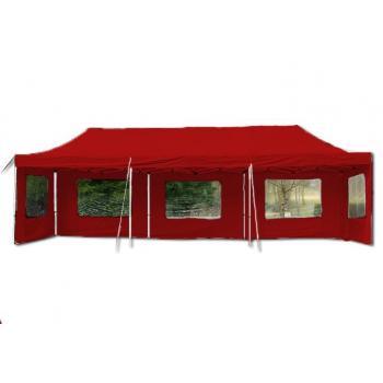 Velký obdélníkový zahradní párty stan Profi 3x9 m, nůžková konstrukce, červený