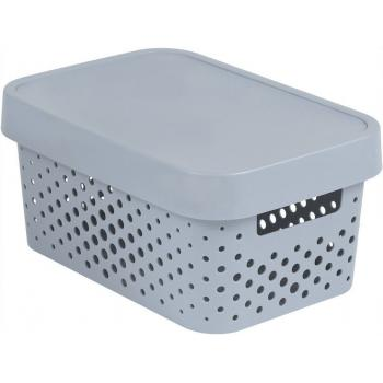 Plastový box s víkem, děrovaný, uložení maličkostí v interiéru, šedý 4,5 L