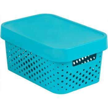Plastový box s víkem, děrovaný, uložení maličkostí v interiéru, modrý 4,5 L