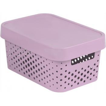 Plastový box s víkem, děrovaný, uložení maličkostí v interiéru, růžový 4,5 L