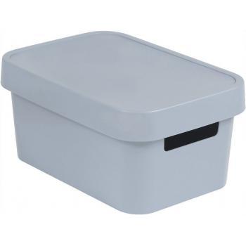 Plastový box s víkem do interiéru, uložení věcí, s úchyty, šedý, 4,5 L