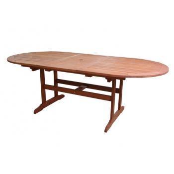 Velký zahradní oválný stůl- tropické dřevo Shorea, rozkládací horní deska, 175 - 220 cm